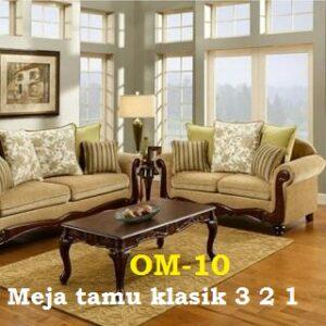 OM-10 mebel jepara terbaru - Meja tamu klasik 3 2 1 Plus Meja  Bahan jati atau mahoni