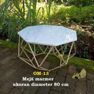 Meja marmer  ukuran diameter 80 cm Marmer Import kombinasi besi pipa