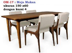 Meja Makan ukuran 150 x60  dengan kursi 4 bahan kayu jati mahoni