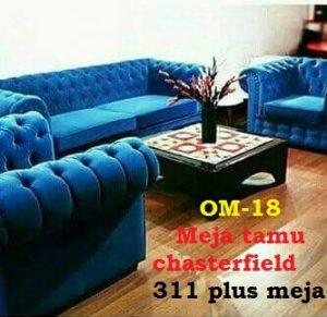 Meja tamu chasterfield 311 plus meja bahan kayu jati dan mahoni kain kanvas atau kulit asli