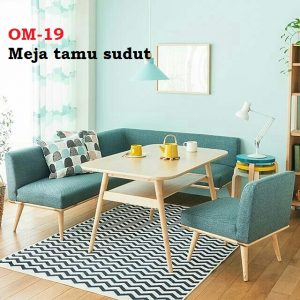 Meja tamu sudut Bahan kayu jati atau mindi Dudukan dari kain kanvas atau motif sesuai request