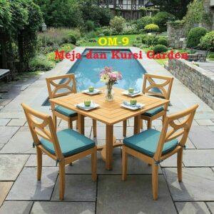 OM-9 mebel jati jepara - Meja dan Kursi Garden meja ukuran 90x90 cm dengan kursi 4 Bahan jati kualitas bagus