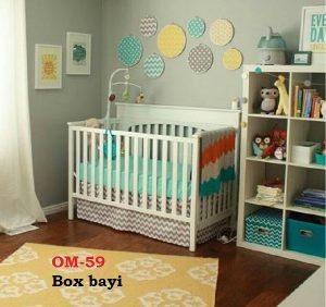 Box bayi.  Bahan jati atau mahoni